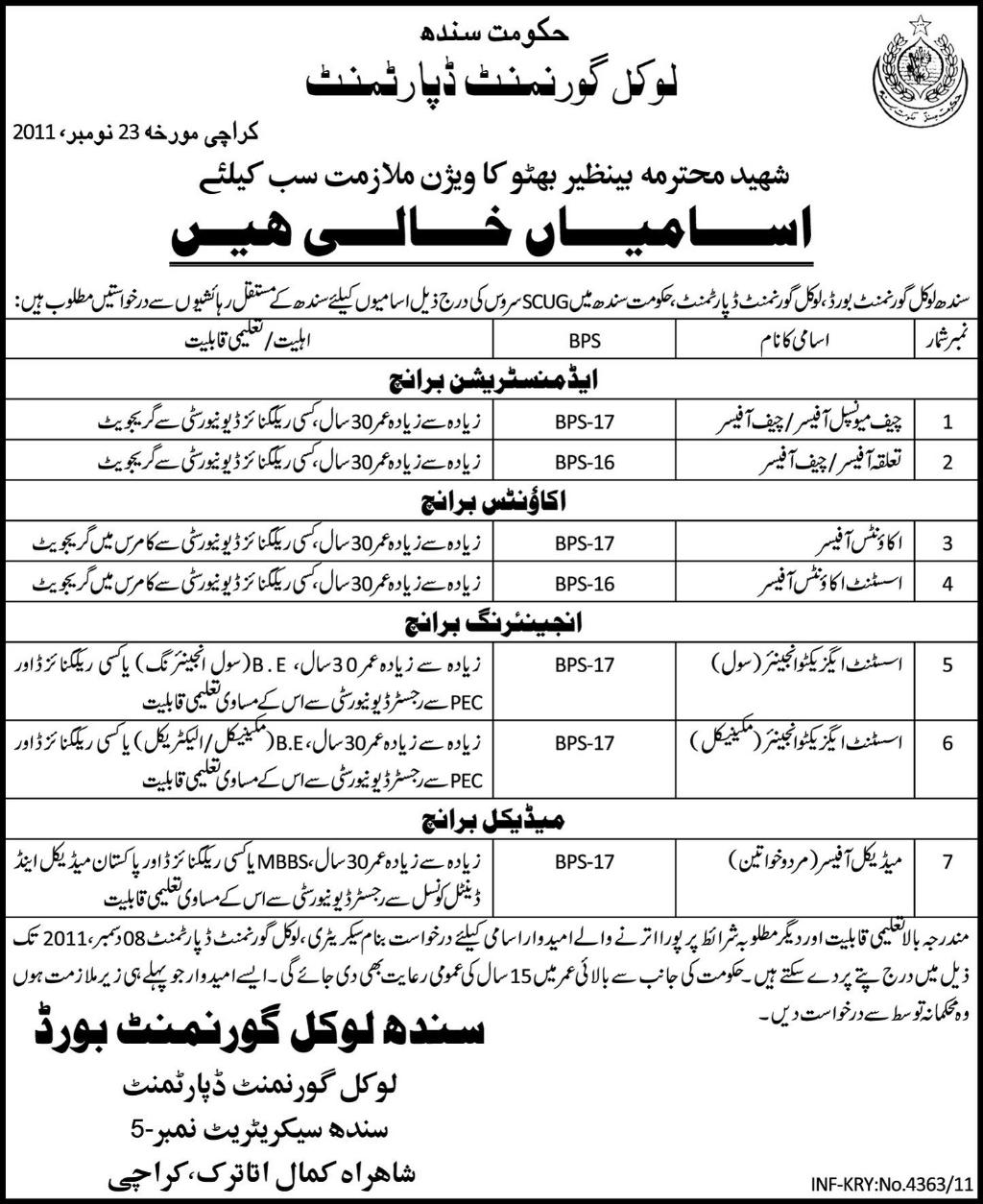 Sindh Local Government Board Jobs Opportunity