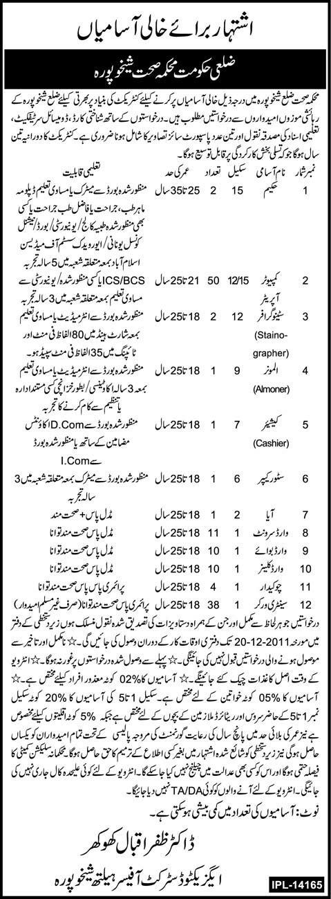 Health Department District Sheikhupura Jobs Opportunity