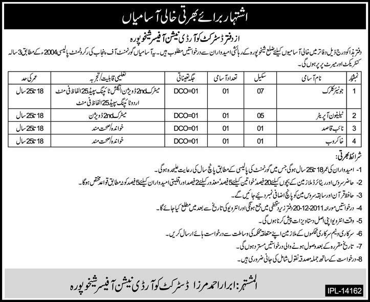 Office of the DCO Sheikhupura Required Staff