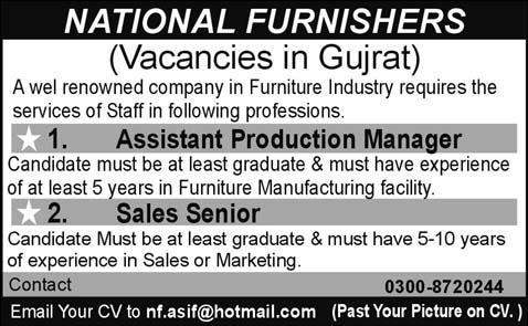 National Furnishers Gujrat Required Staff In Gujrat