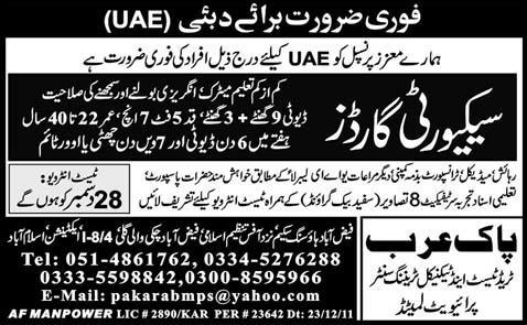 Security Guards Required for Dubai UAE