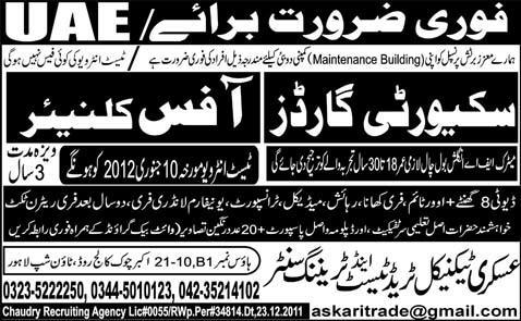 Security Guards and Office Cleaners Required for UAE