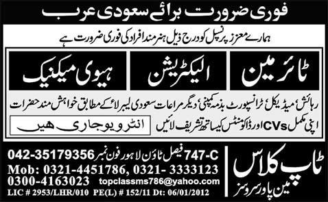 Electrician and Heavy Mechanic Required Saudi Arabia