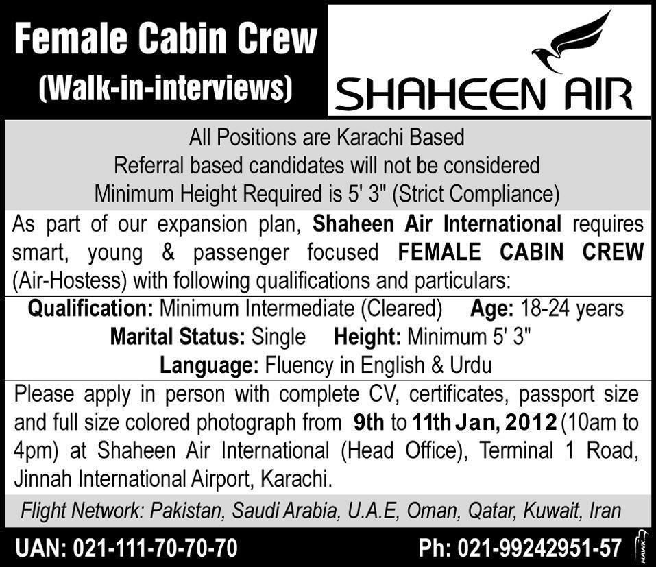Shaheen Air Required Female Cabin Crew