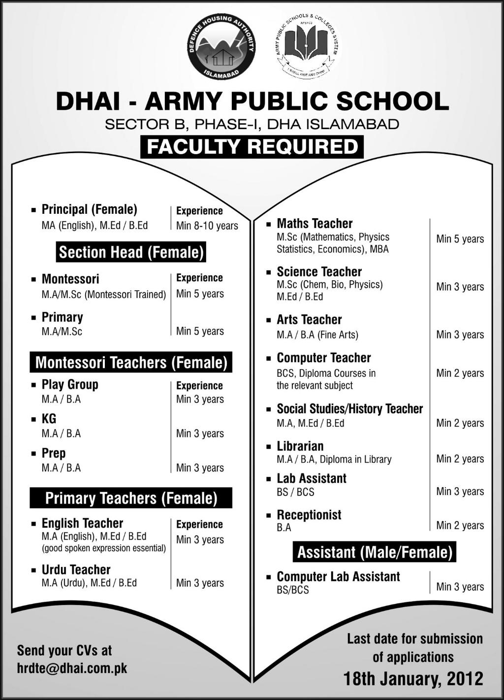 dhai army public school  islamabad required faculty in