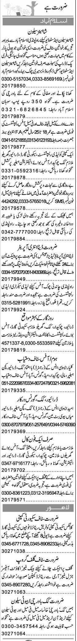 Misc. Jobs in Islamabad Express Classified