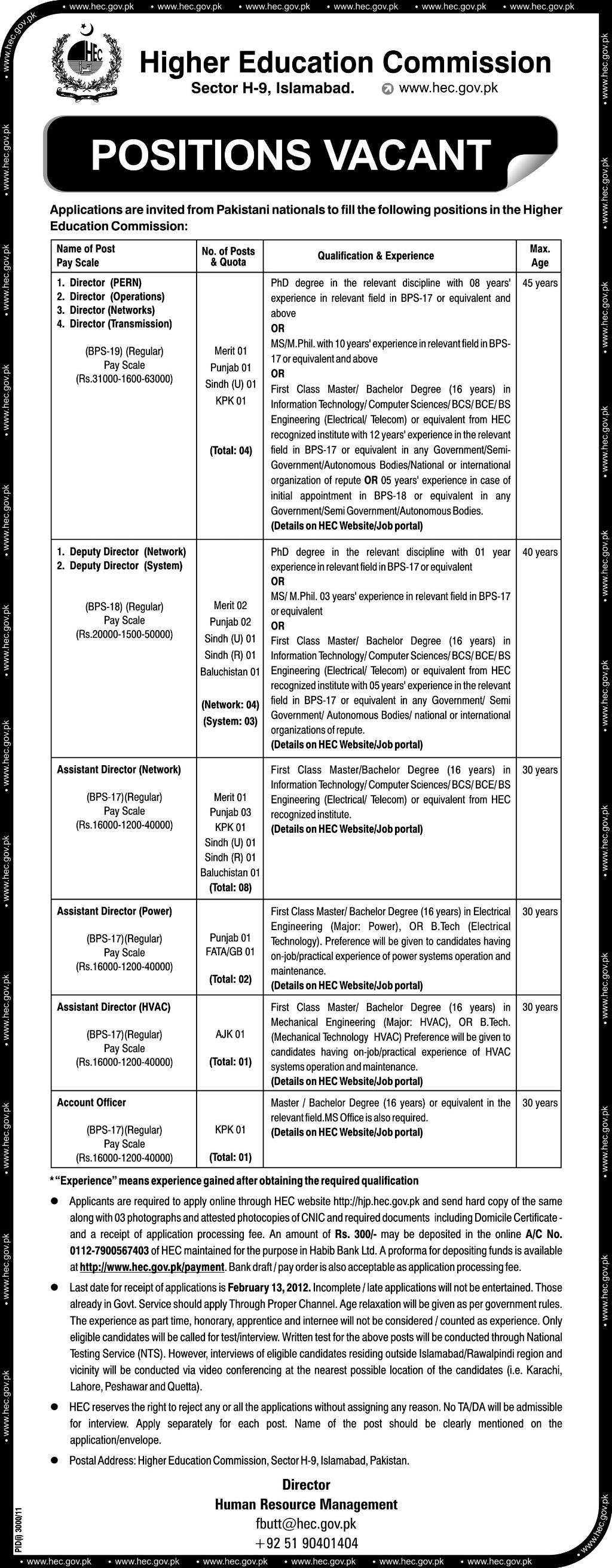 Higher Education Commission Pakistan Jobs Opportunities