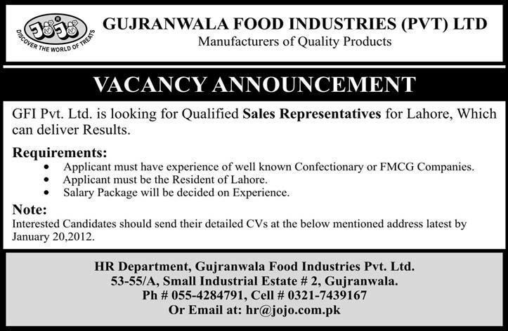 Gujranwala Food Industries Pvt Ltd Required Sales Representatives in ...