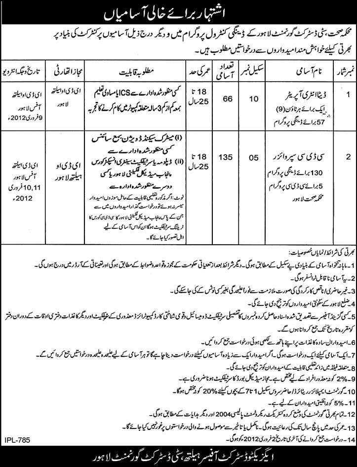 Health Department, City District Government Lahore Required Data Entry Operators and CDC Supervisors
