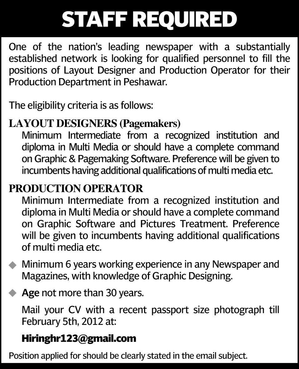 layout designers and production operator required by a nations leading newspaper - Production Operator