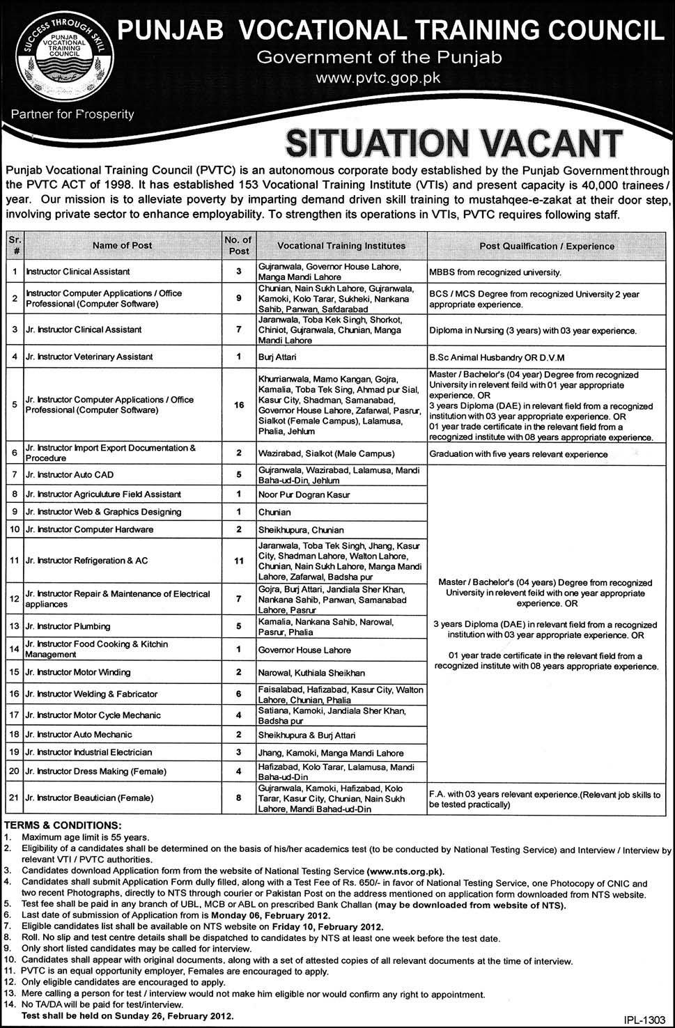 punjab vocational training council required jobs opportunity