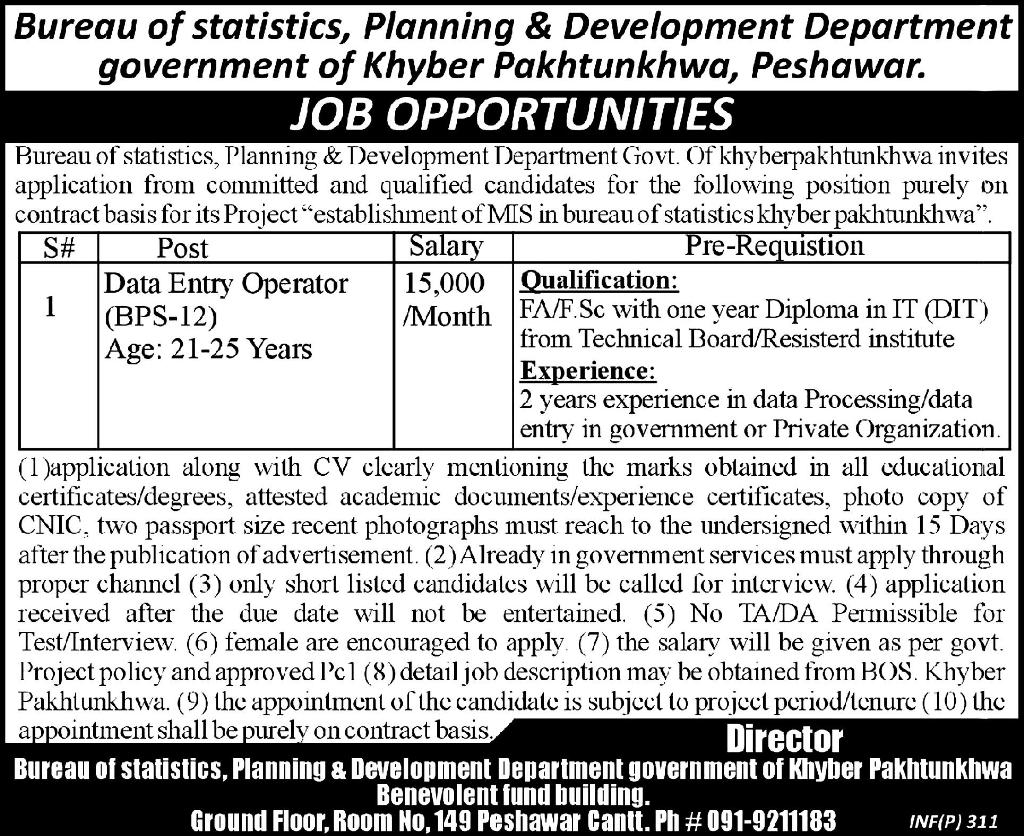 Bureau of Statistics, Planning & Development Department, Government of Khyber Pakhtunkhwa Required Data Entry Operator