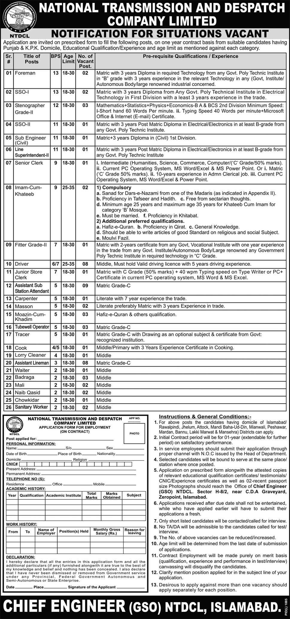 National Transmission and Dispatch Company Ltd Jobs Opportunity