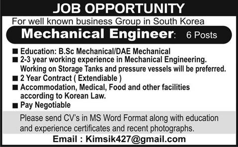Mechanical engineers required for south korea in south korea express