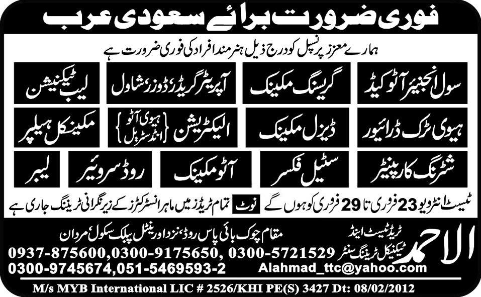 Mechanics and Technicians Required for Saudi Arabia