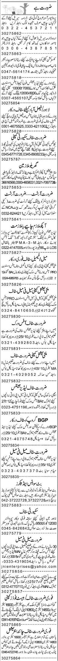 Misc. Jobs in Lahore Express Classified