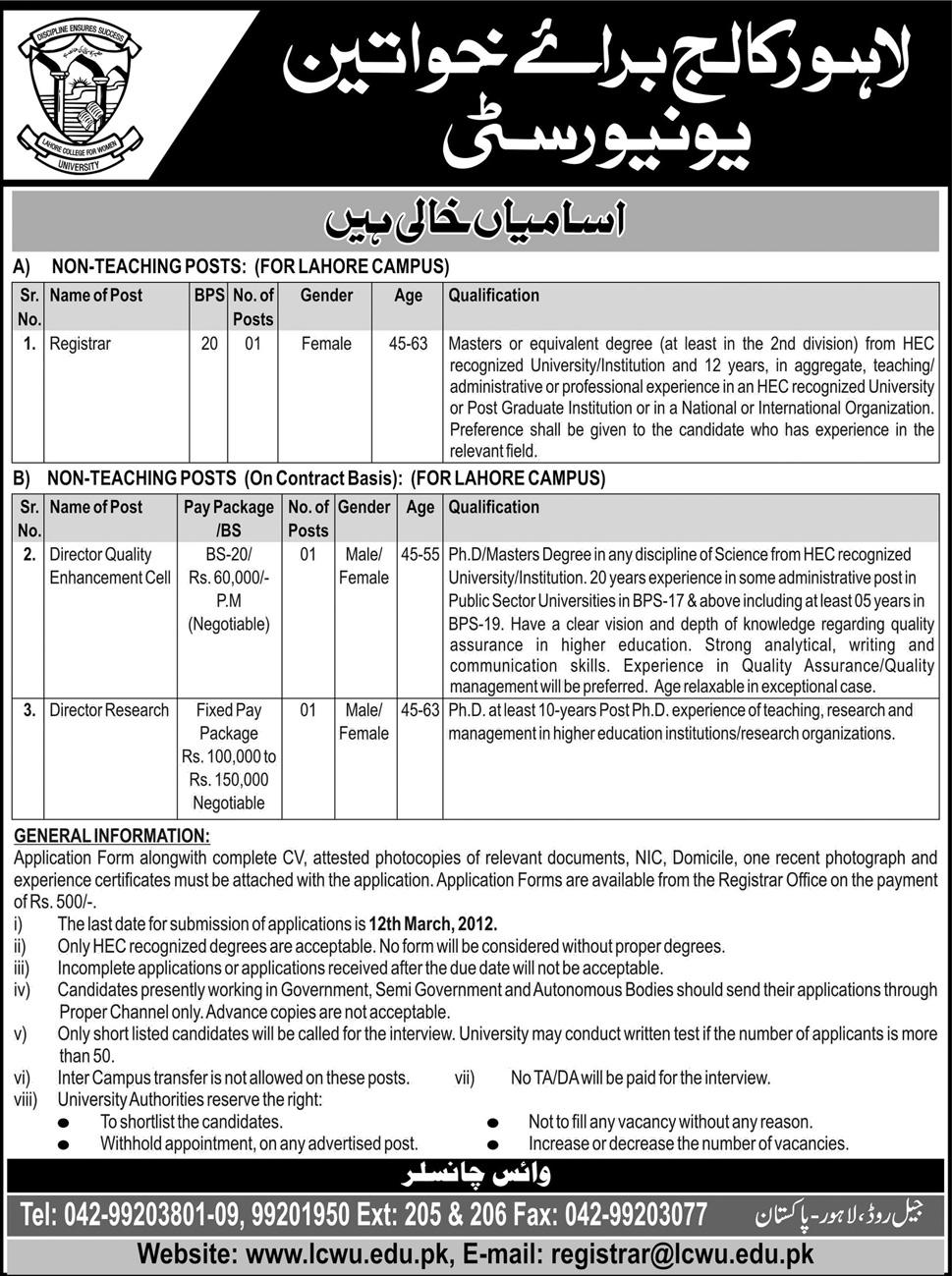 Lahore College for Women University Jobs Opportunity