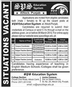 SPS Education System, Attock, Punjab Required Teachers and Campus Coordinator