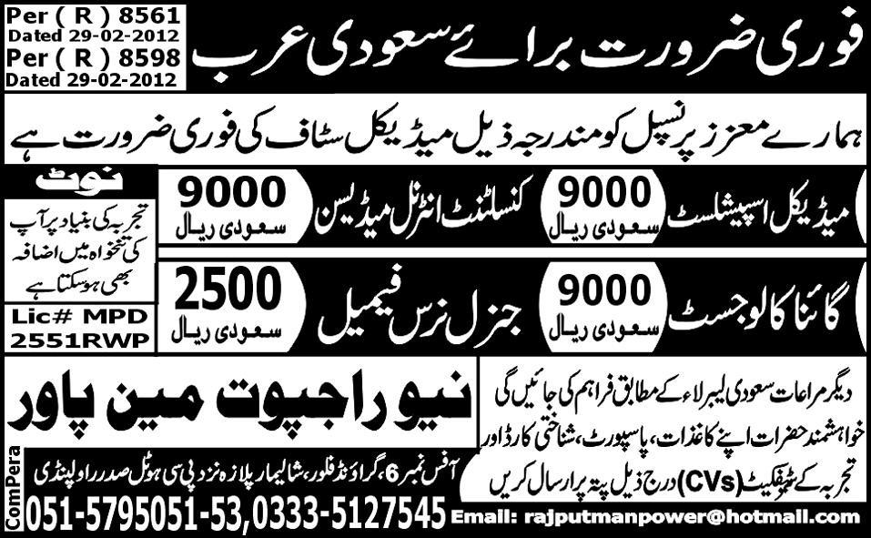 Medical Staff Required for Saudi Arabia