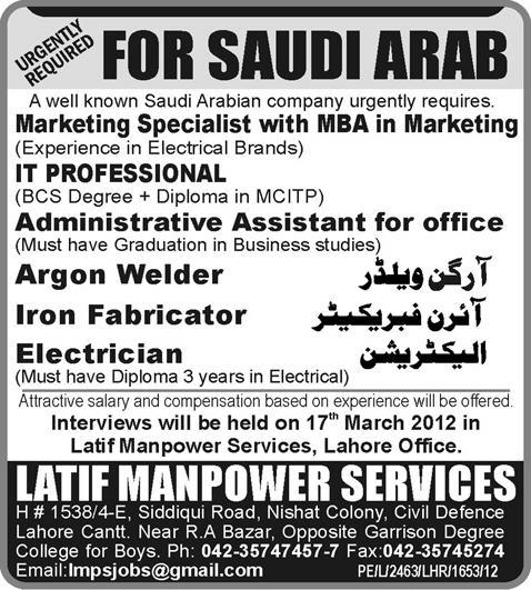 IT, Marketing and Supporting Staff Required for Saudi Arabia