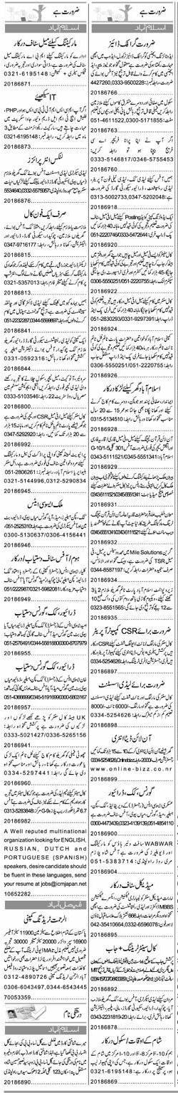 Classified Islamabad Express Misc. Jobs 1