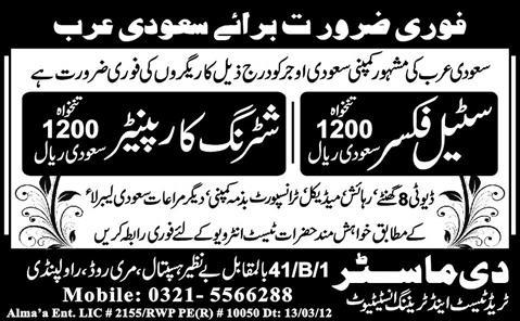 Steel Fixer and Shuttering Carpenter Jobs