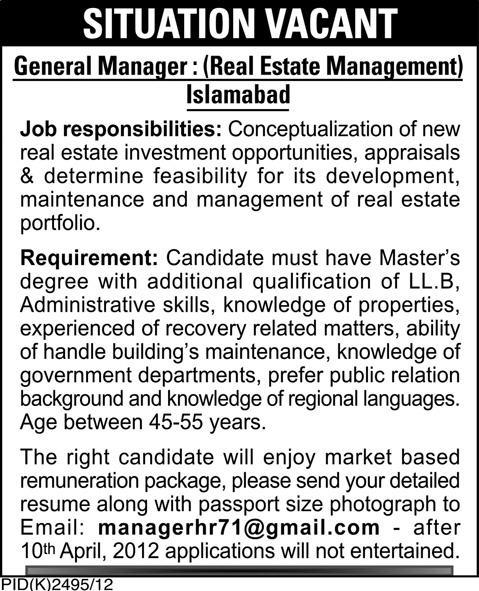 General Manager Required by Real Estate Management