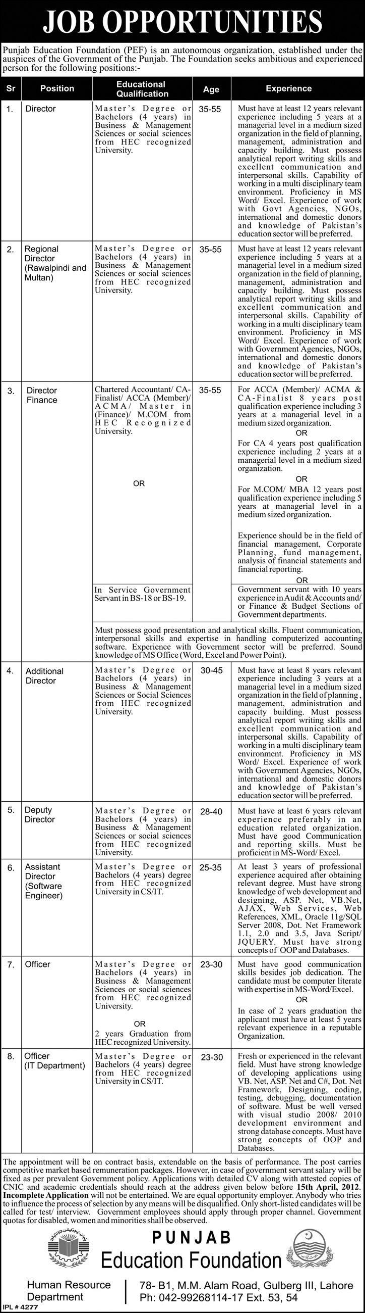 Punjab Education Foundation (PEF) Govt. Jobs