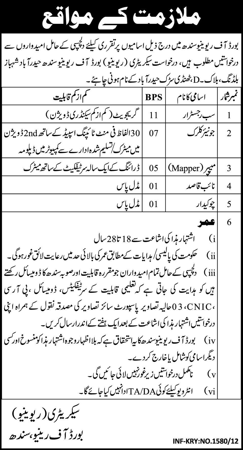 Board of Revenue, Sindh (Govt.) Jobs