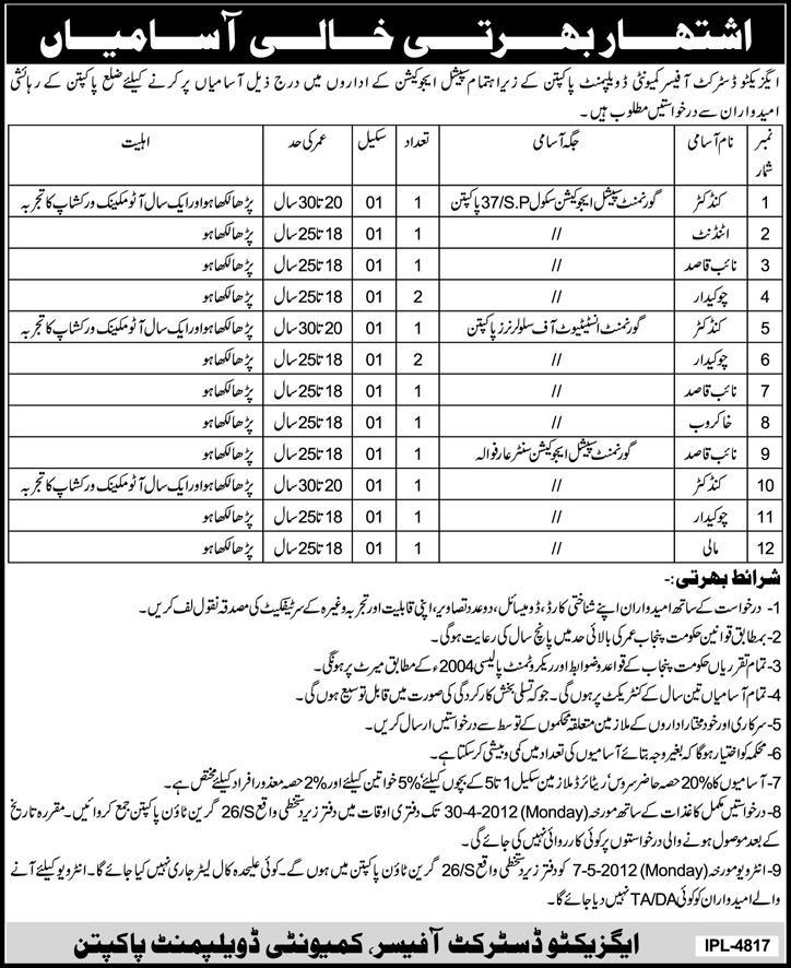 Executive District Officer Community Development Pakpattan (Govt.) Jobs Requires Staff