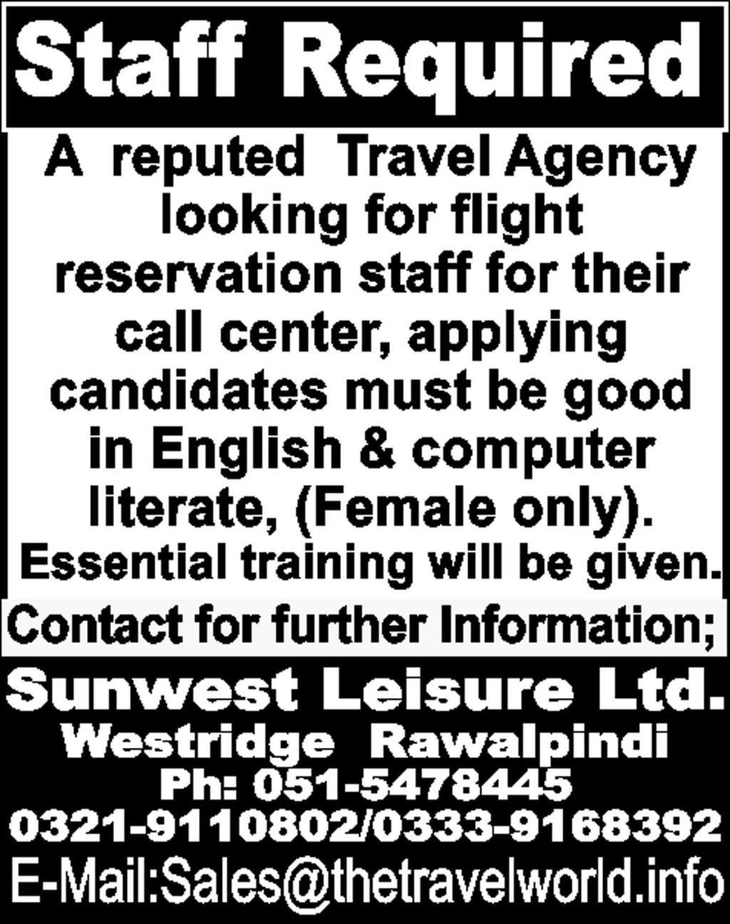 Travel Agency Requires Staff In Rawalpindi Express On 13