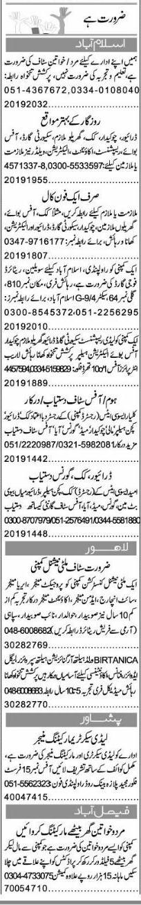 Classified Islamabad Express Misc. Jobs