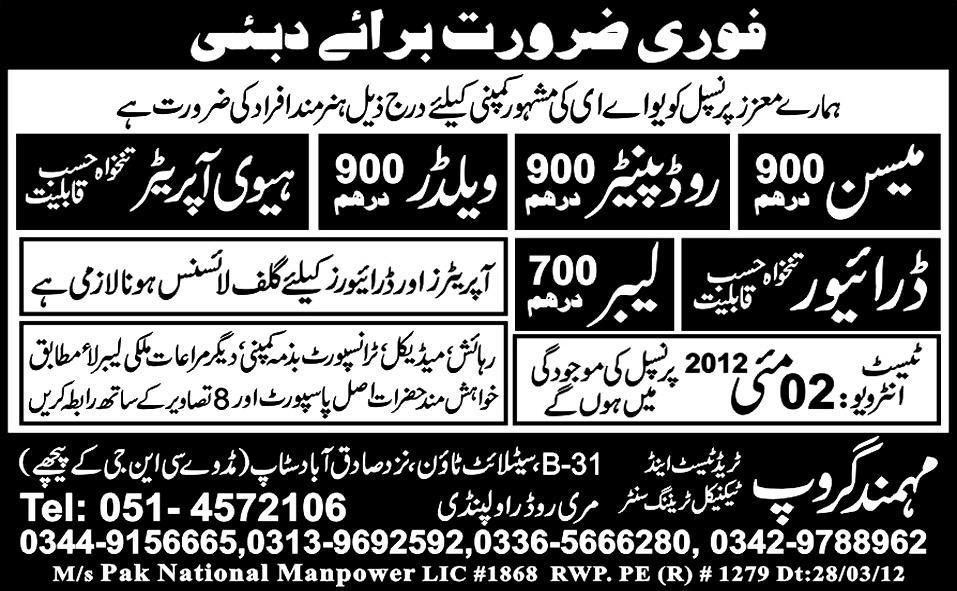 Mason, Road Painter, Welder and Heavy Operators Jobs
