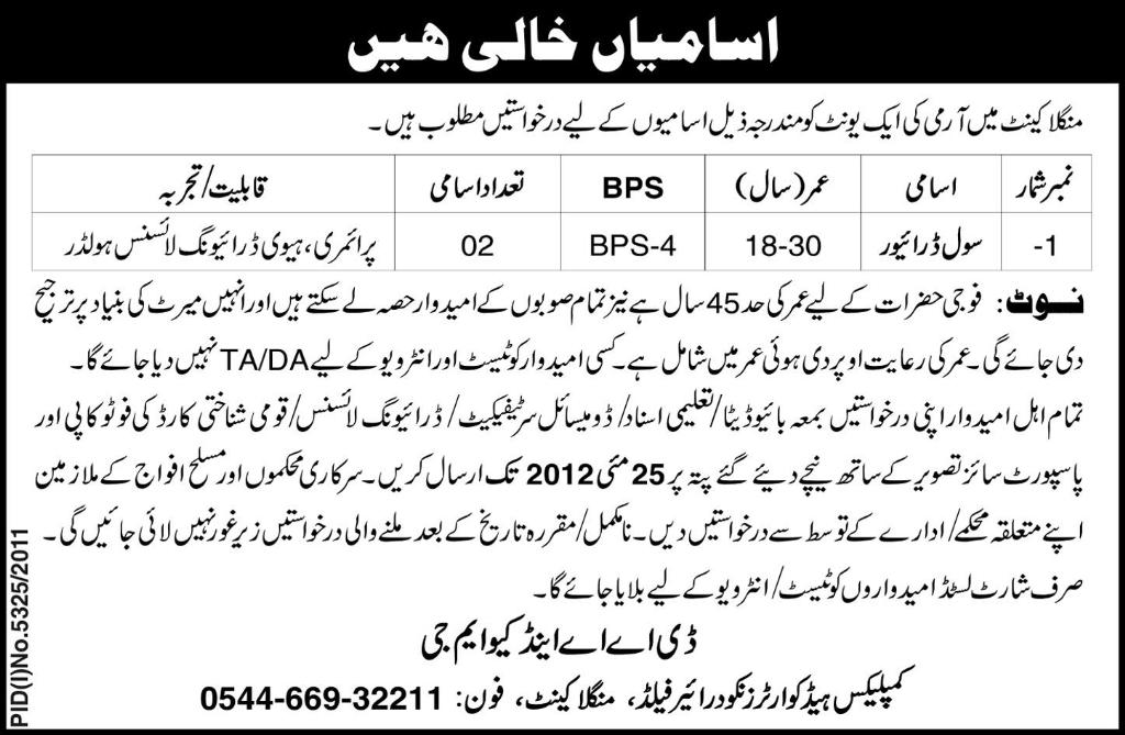 Driver Required at Mangla Cantt. (Govt. jobs)