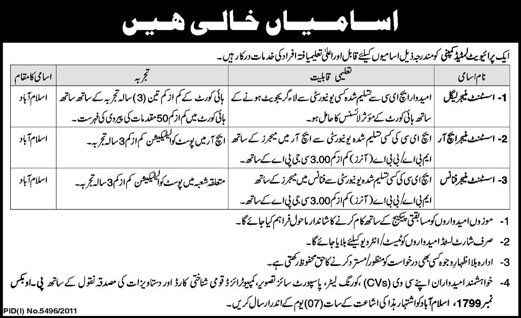Managers Required at Private Limited Company in Islamabad, Express ...