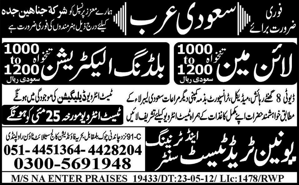 Electricians and Lineman Required by Union Trade Test & Training Centre