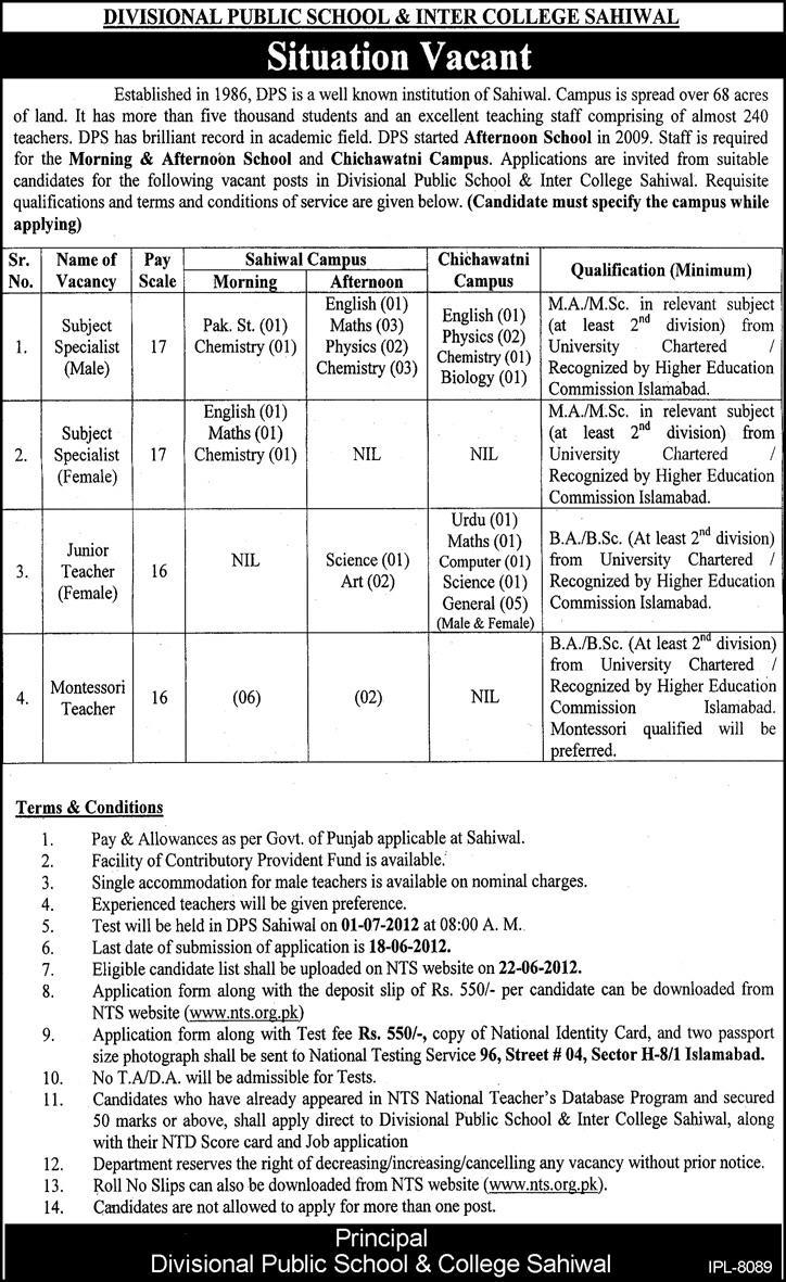Subject Specialists and Junior Female Teachers Required at Divisional Public School & College (DPS)
