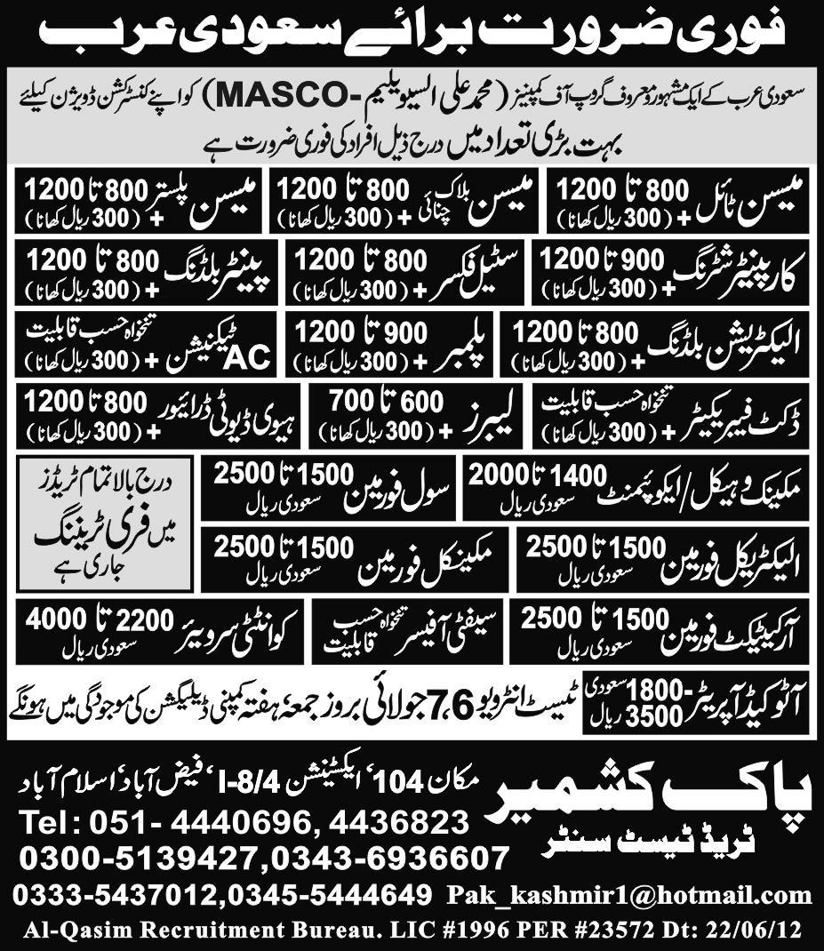 Construction, Mechanical and Technical Staff Required