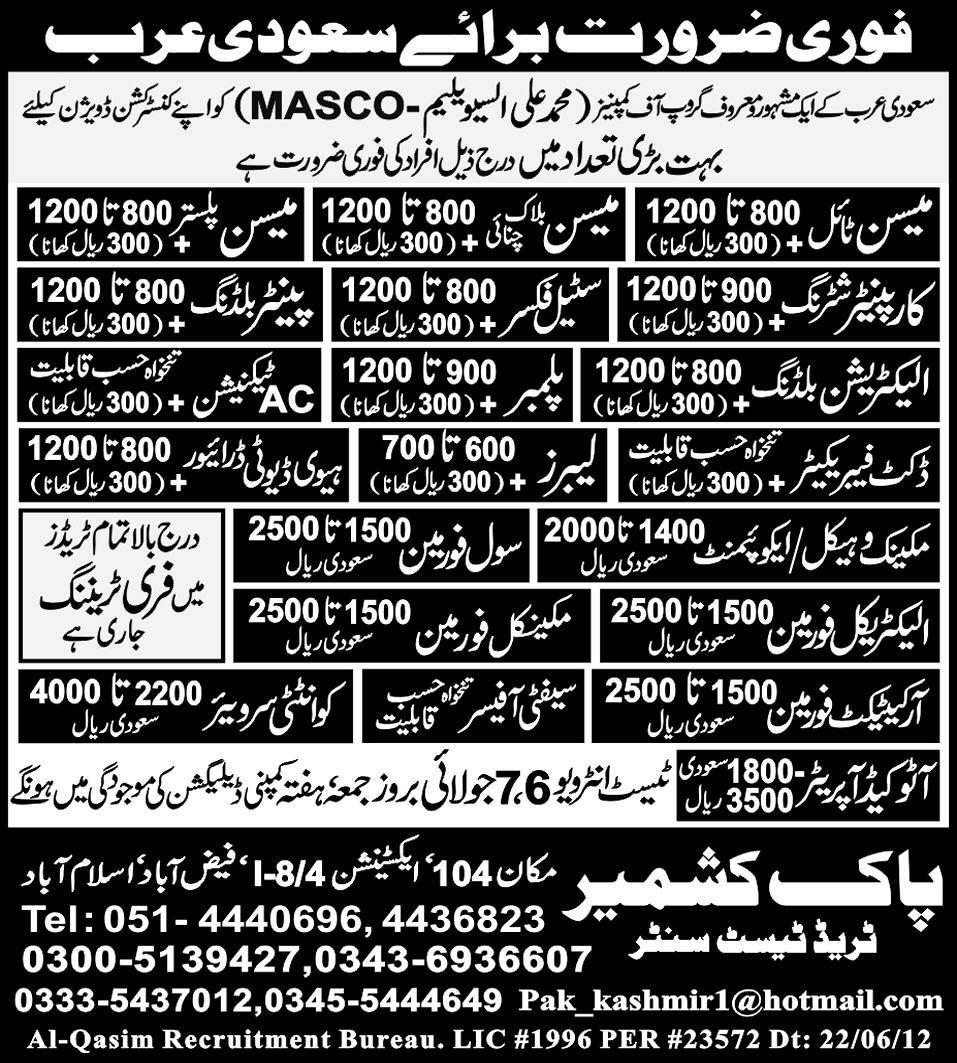Construction, Mechanical and Technical Staff Required by Pak Kashmir Trade Test Centre