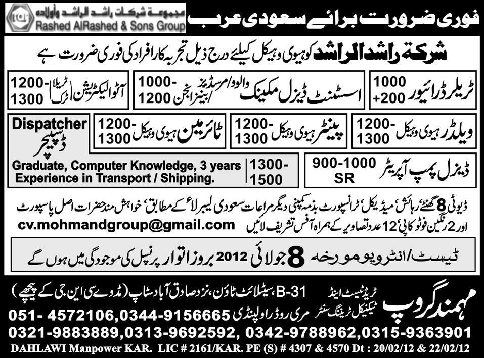 Dispatcher, Mechanical and Technical Staff Required for Saudi Arabia