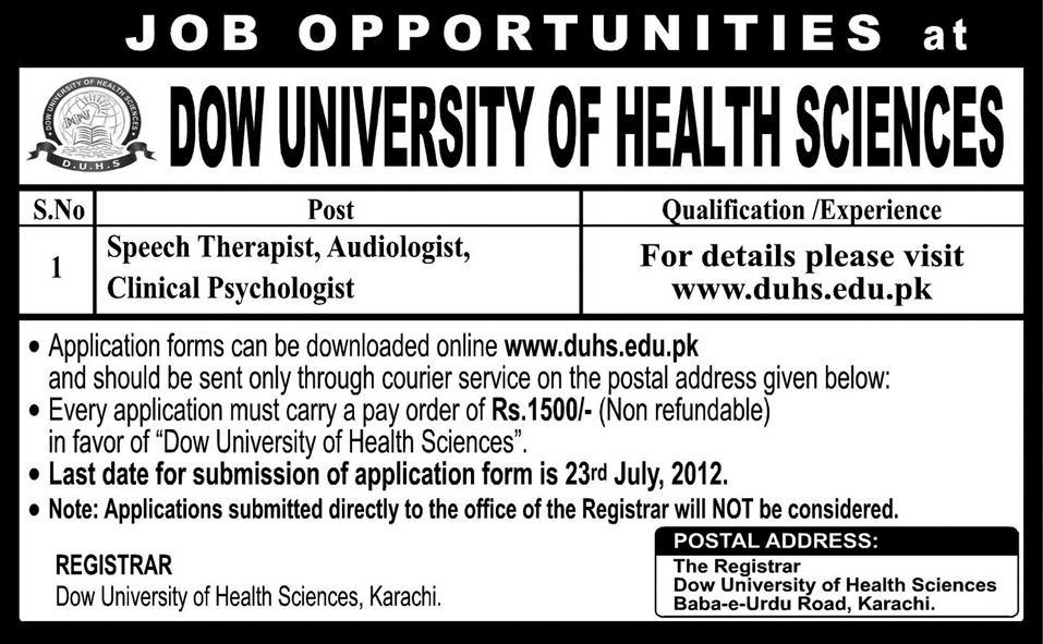 DOW University of Health Sciences Requires Medical Professionals