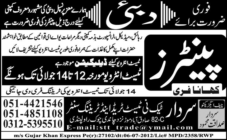Painters Required by Sardar Tech-ni-Test Trade and Training Centre