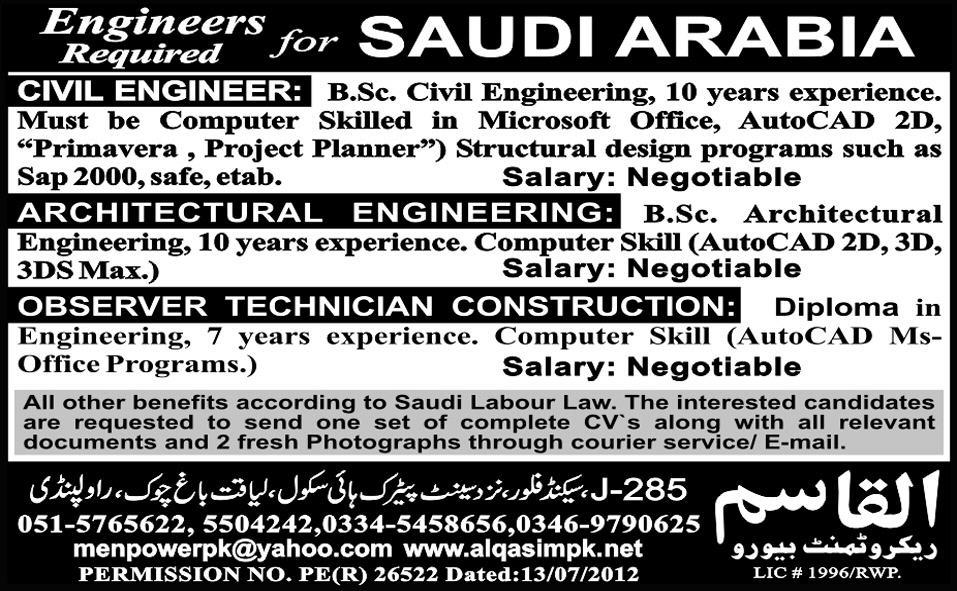 Engineers Required for Saudi Arabia