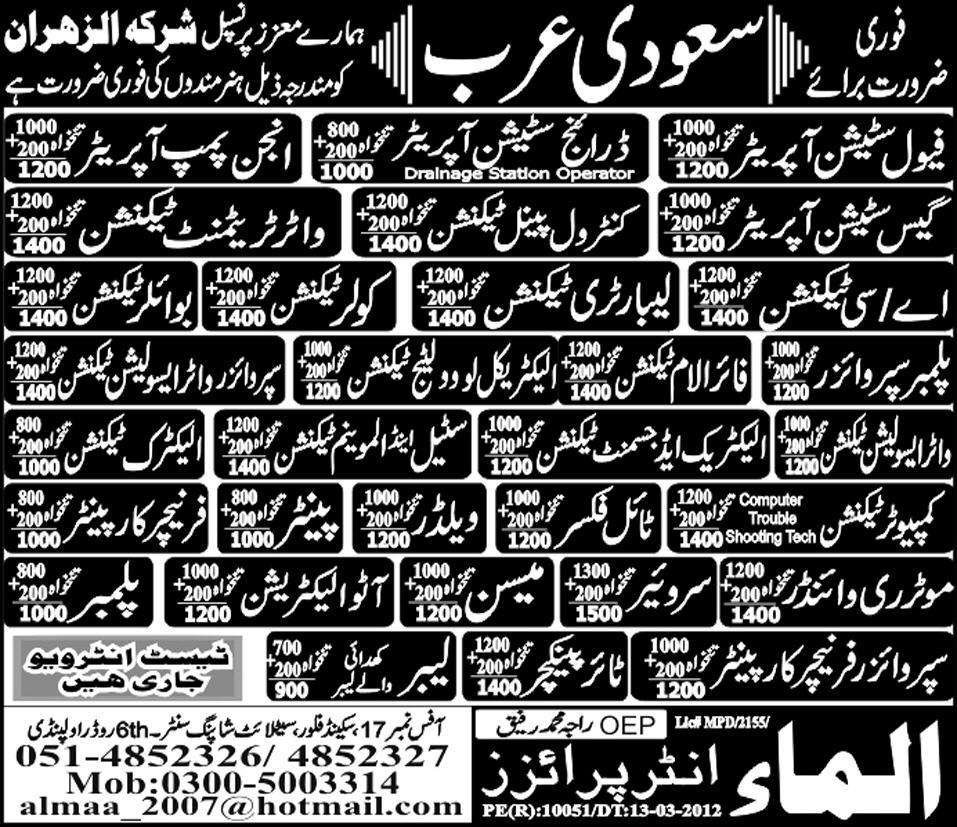 Mechanical and Technical Staff Required for Water Treatment Plant