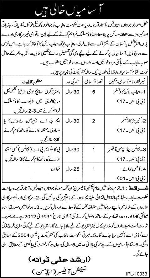 Admin Staff and Counselors Required by Department of Yout Affairs Punjab (Government Job)