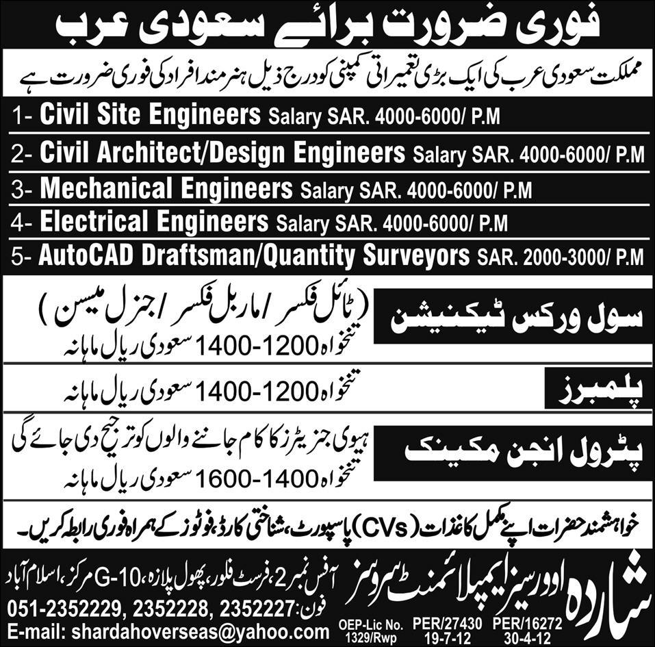 A Construction Company Requires Engineering Staff and Surveyors for Saudi Arabia
