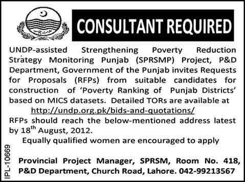 Consultant Required Under UNDP Assisted Project by Government of Punjab (Government Job)