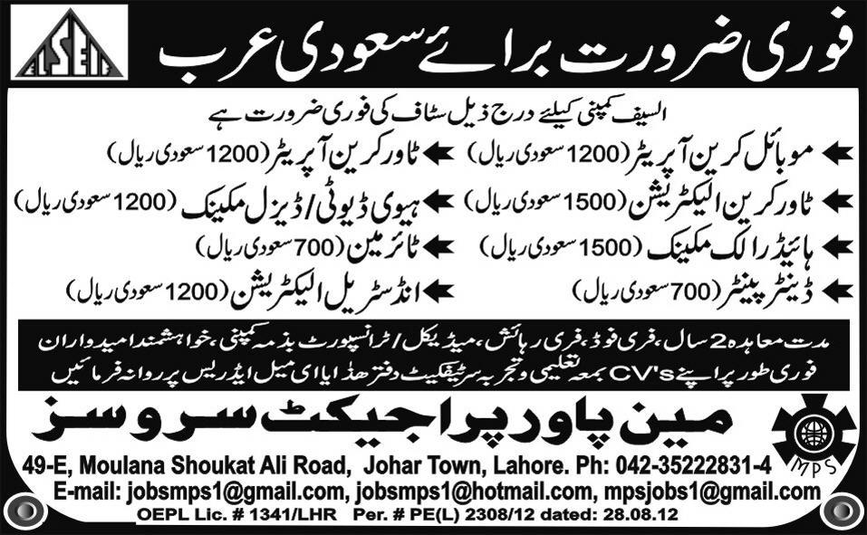Mechanical and Technical Staff Required for Saudi Arabia