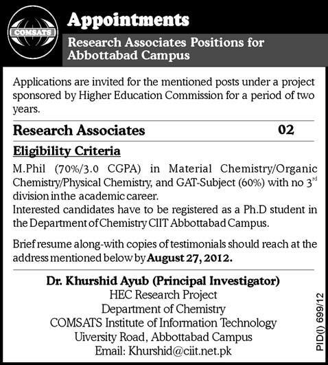 research associates required at comsats institute of