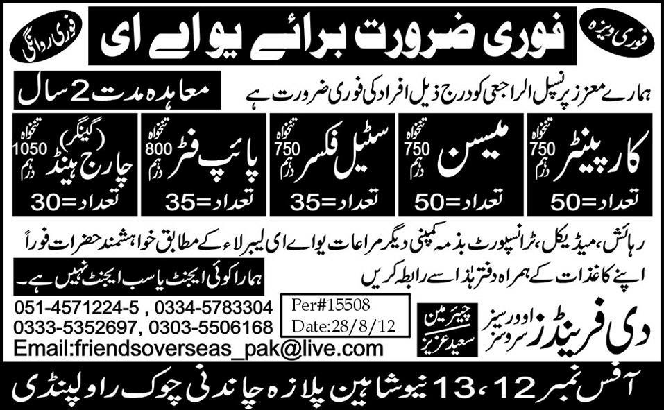 Carpenter and Technical Staff Required for UAE